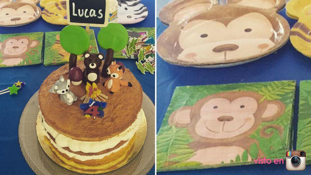 La temática era de animales de la selva, igual que la tarta, que es de Asfy&Co