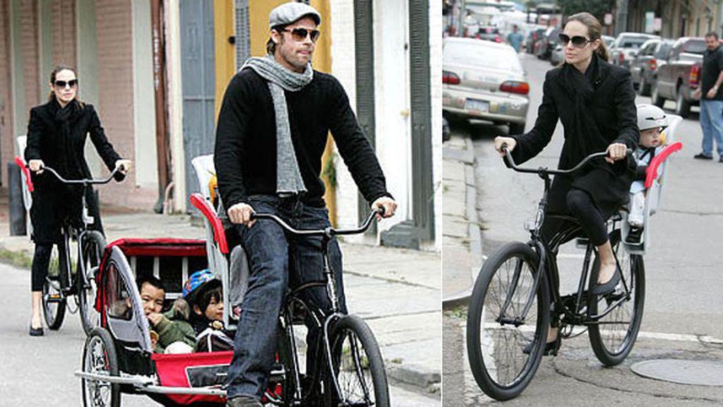 Brad Pitt y Angelina Jolie, seis sobre ruedas