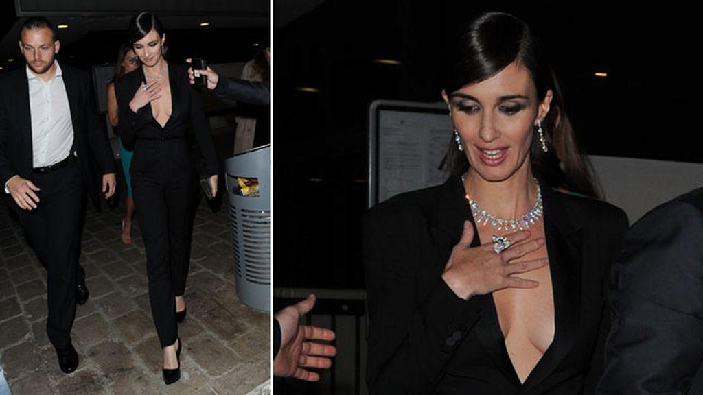 Paz Vega en la fiesta en el yate de Harvey Weinstein, con un elegante  mono negro