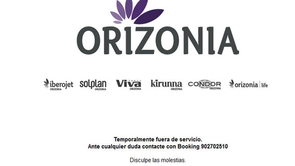 La página de Orizonia, fuera de servicio