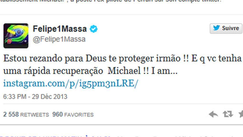 Felipe Massa en Twitter reza por Schumacher