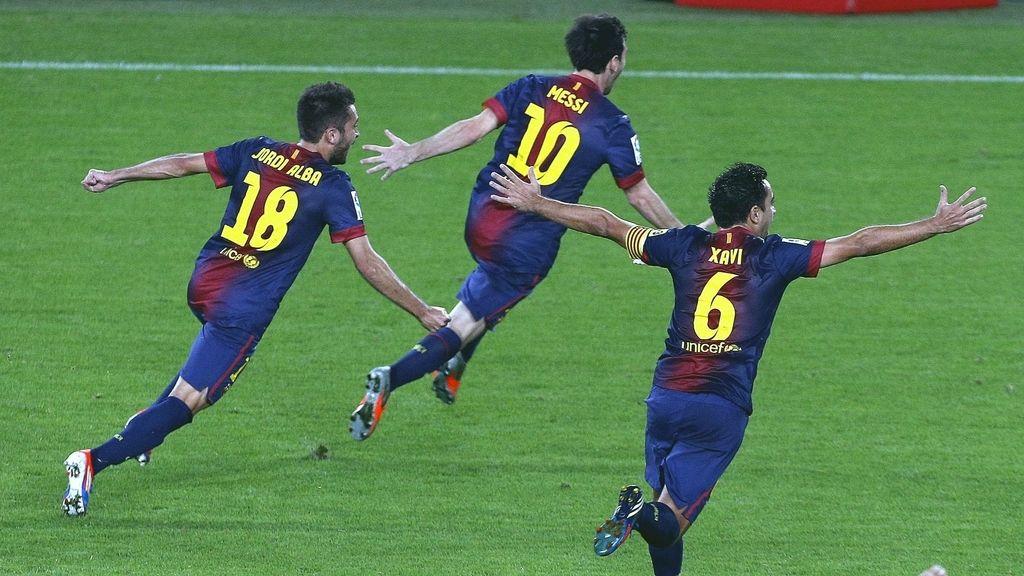 El Barça celebra el segundo gol de Messi