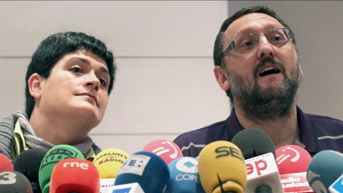 Los representantes de la izquierda abertzale Txelui Moreno y Marian Beitialarrangoitia. EFE/Archivo