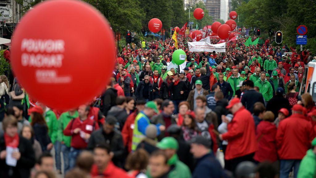 Protesta en Bruselas contra las medidas de austeridad