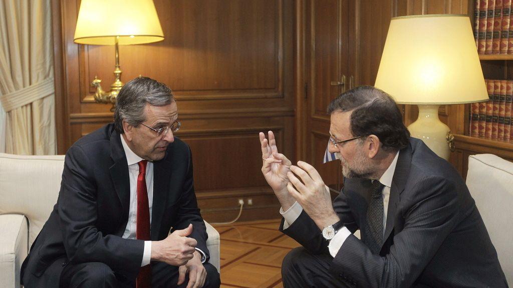 Mariano Rajoy con Antonis Samarás en Atenas