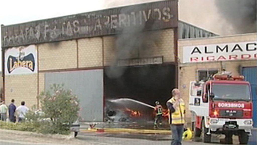 Incendio en una fábrica de patatas
