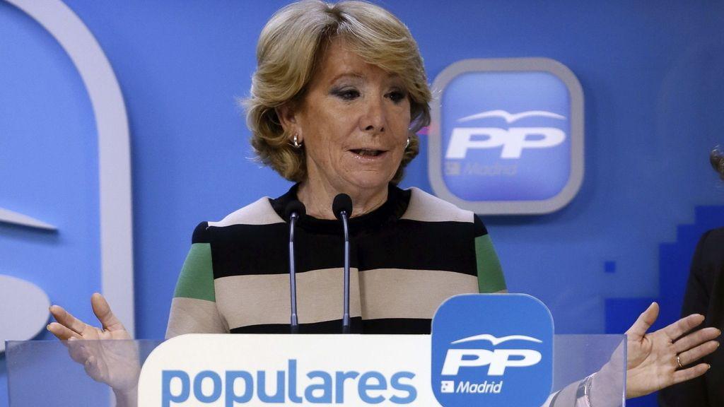 Esperanza Aguirre, candidata del PP a la alcaldía de Madrid, en rueda de prensa