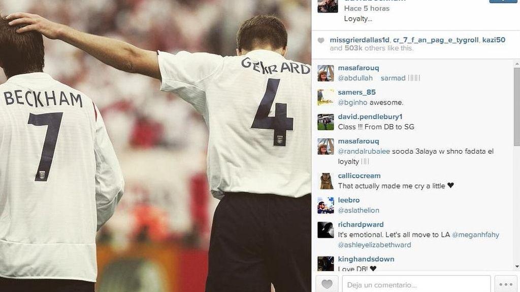 Beckham se acuerda de Gerrad en Instagram