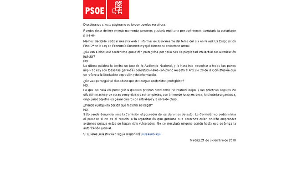 El PSOE explica en su web la 'Ley Sinde'