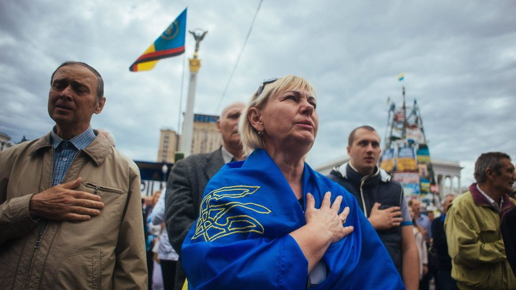 Protesta en la embajada rusa en Kiev