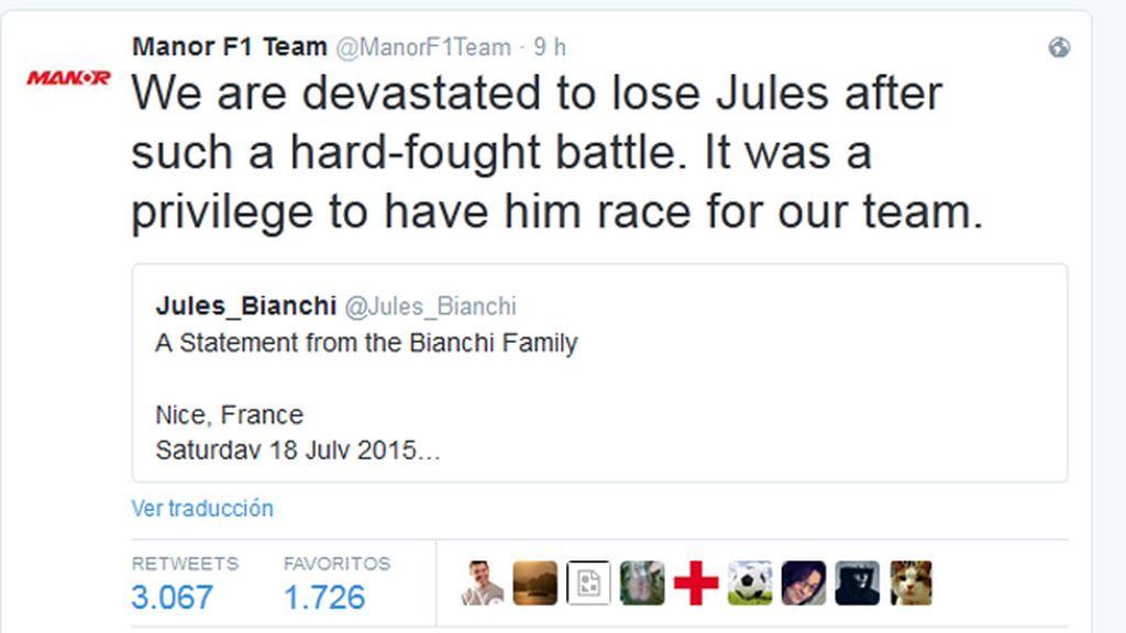 El mundo de la Fórmula 1 despide a Bianchi