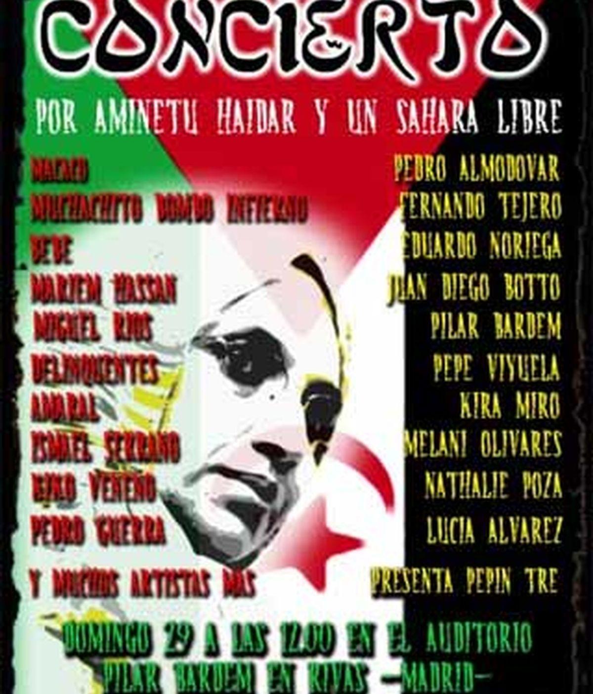 Cartel definitivo del concierto por Aminetu Haidar.
