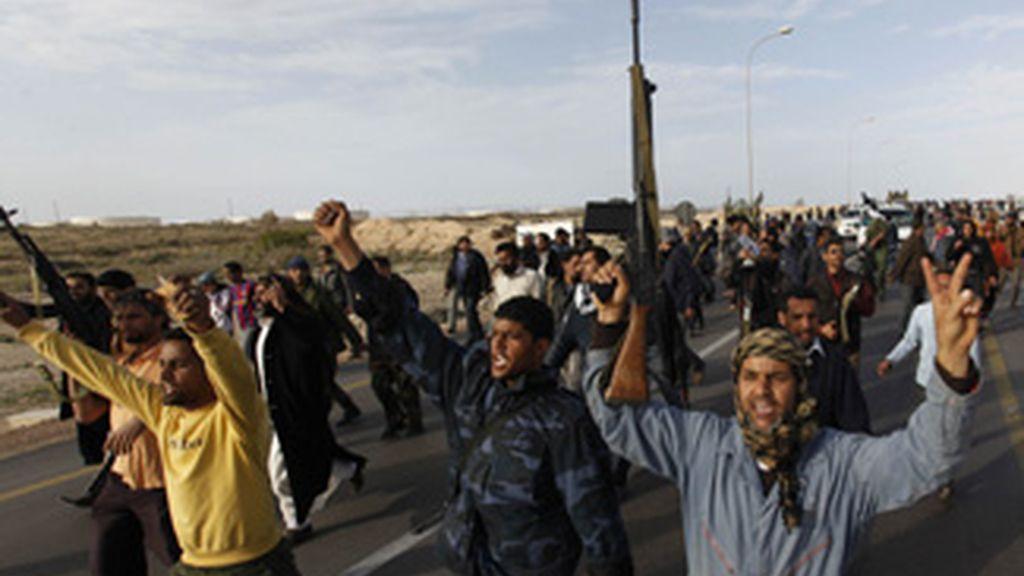 Rebeldes del régimen libio durante una jornada de protestas. Foto: Gtres