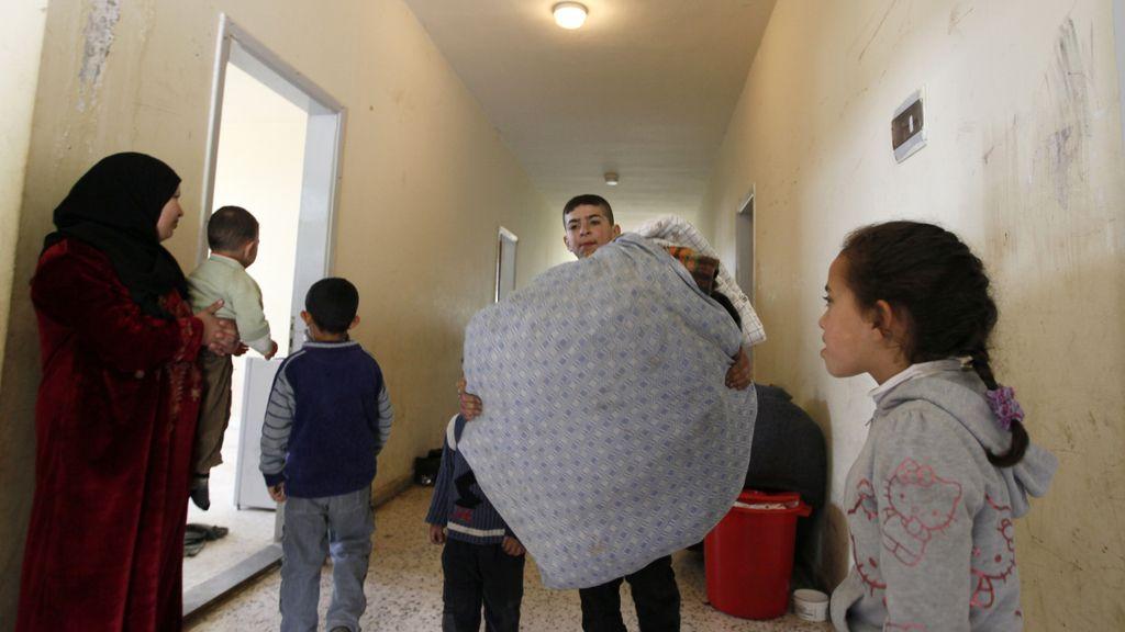 Varios refugidos sirios en el Líbano,