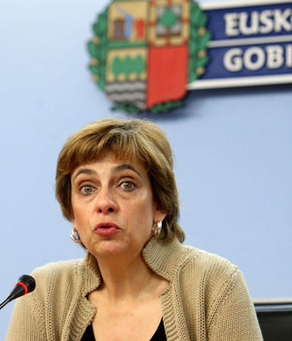 La prtavoz del Gobierno Vasco, Miren Azkarate, en declaraciones tras el atentado