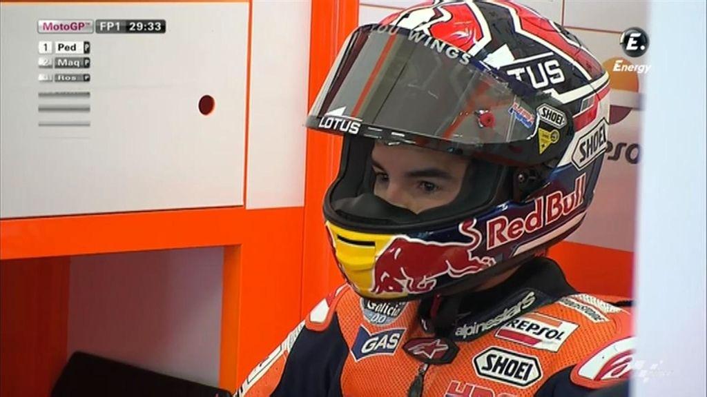 Marc Márquez, concentrado durante los libres del GP de Holanda