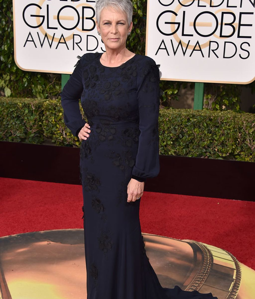 Jamie Lee Curtis con vestido azul
