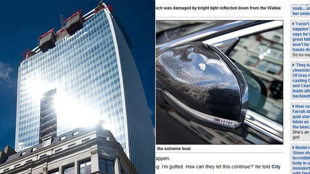 El reflejo de un edificio le derrite el coche