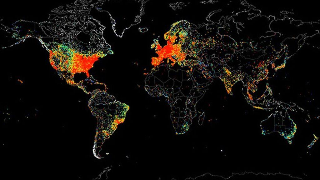 Mapamundi de todas las conexiones a Internet