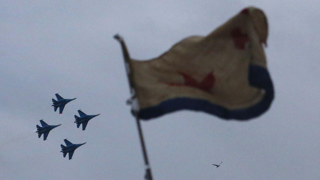 Aviones rusos durante el Día de la Victoria
