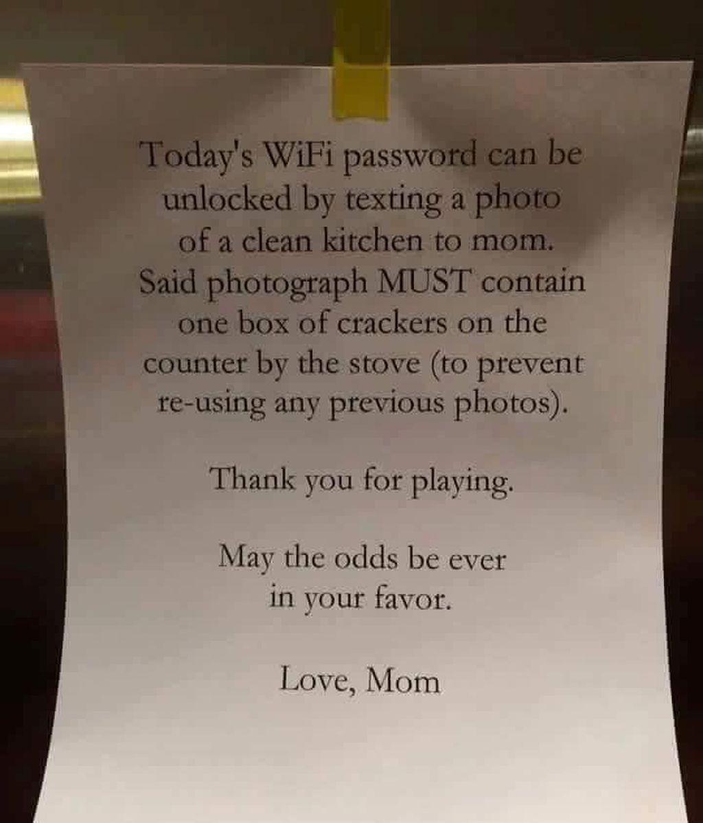 La última carta viral, una madre chantajea a sus hijos con el WiFi para que recojan la casa