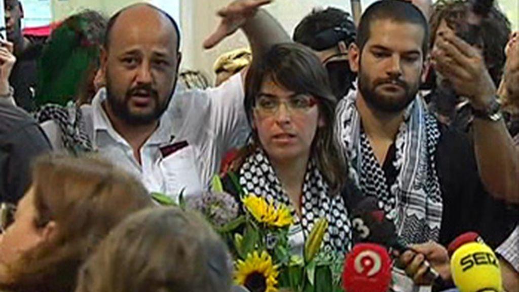 Los tres activistas han llegado a España