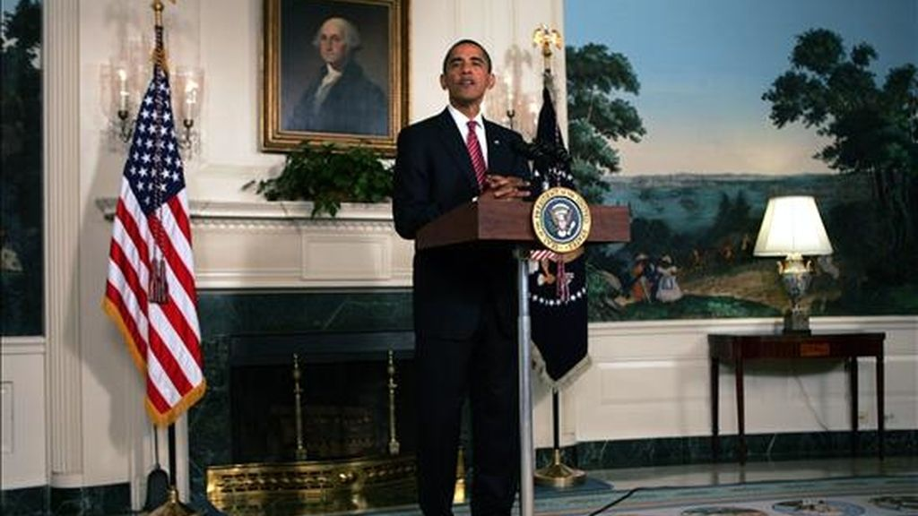 El presidente de Estados Unidos, Barack Obama, ayer en el Sala de Recepciones Diplomáticas de la Casa Blanca en Washington DC (EEUU). EFE