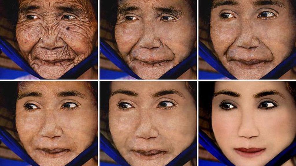 Un artista muestra cómo sería una anciana con 70 años menos gracias al Photoshop
