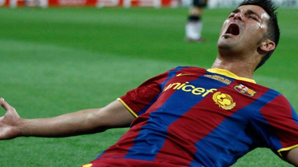 Villa marca el tercero para el Barcelona