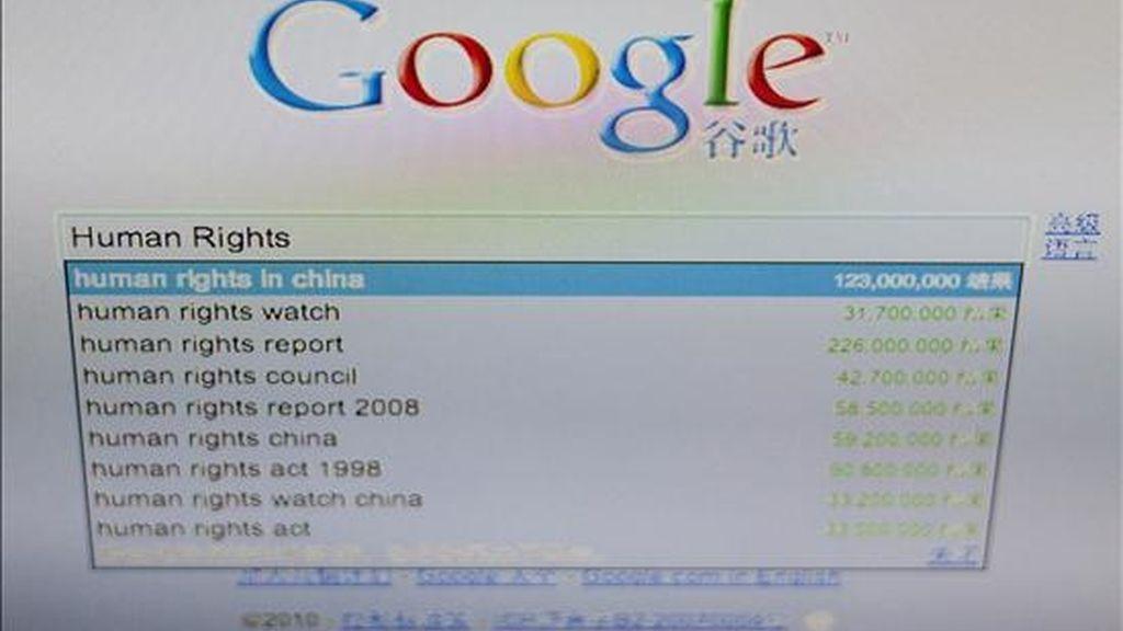 Aspecto de la página de búsqueda para el sitio web de Gogle, en la cual está ajustado el criterio estipulado por el gobierno chino de Pekín. EFE