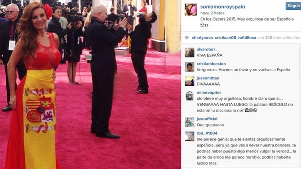 Sonia Monroy, de bandera española en la alfombra roja de los Oscar 2015