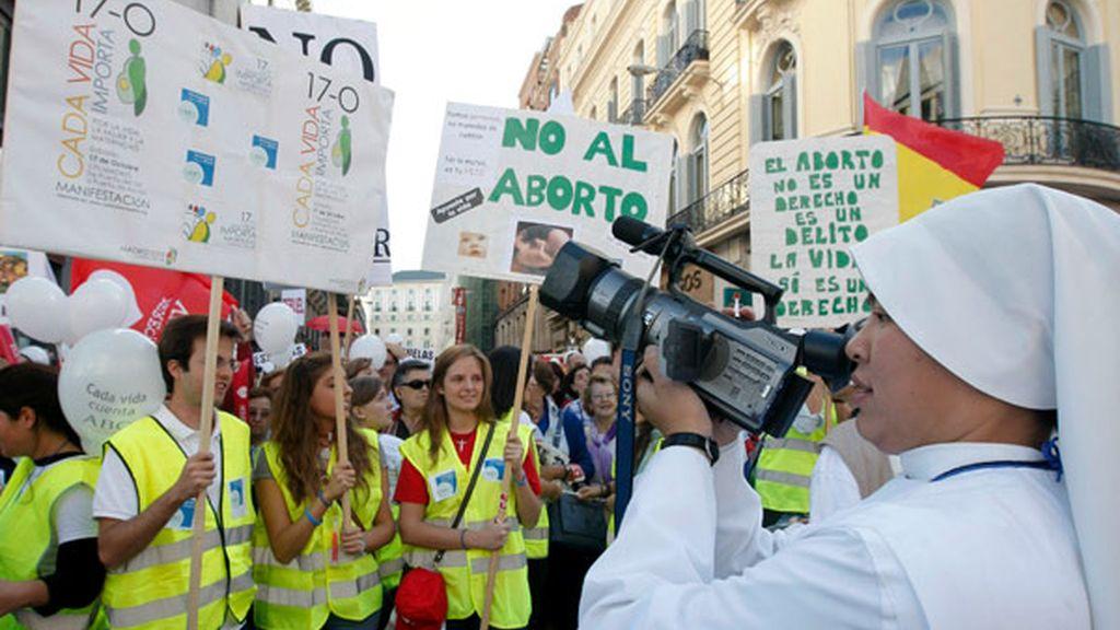 Manifestación contra la reforma de la ley del aborto