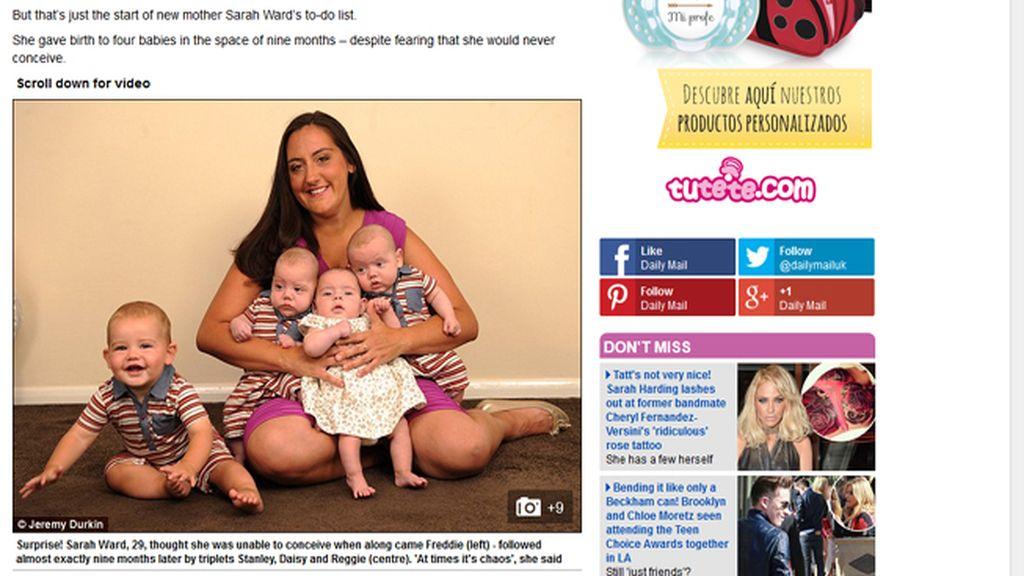 Una madre tiene cuatro bebes en nueve meses