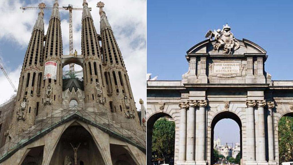 sagrada familia, Barcelona, Puerta de Alcalá, Madrid