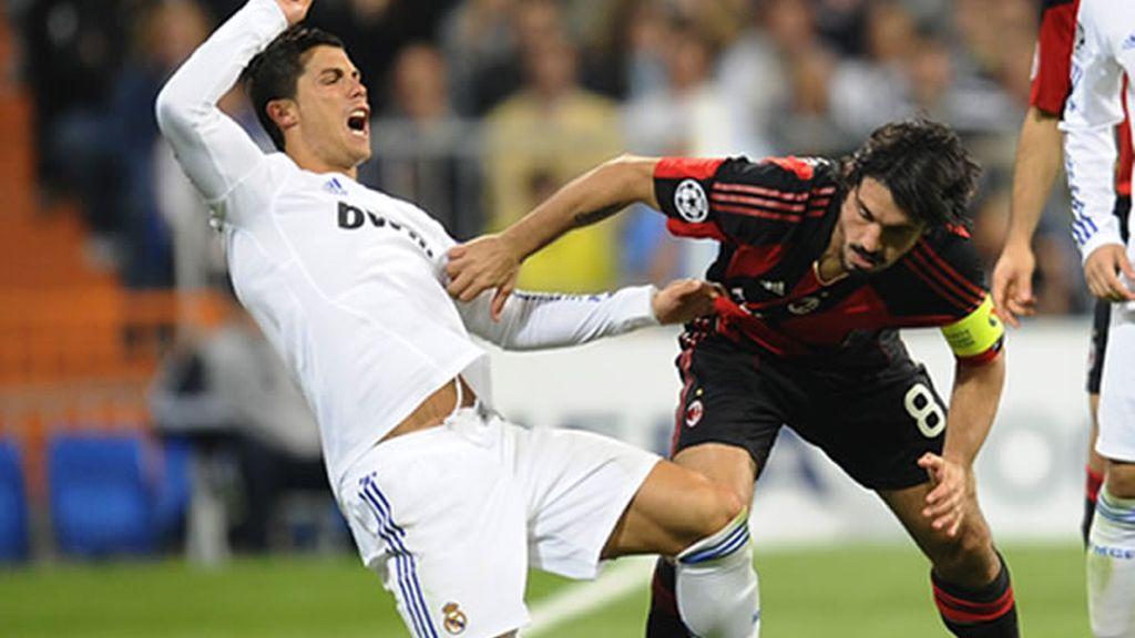 Cristiano Ronaldo y Gatusso, dos de los baluartes del Real Madrid y Milan