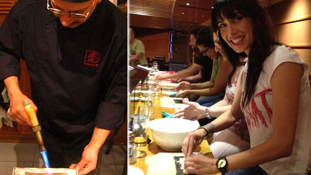 Pilar Rubio, aprendiendo a hacer sushi