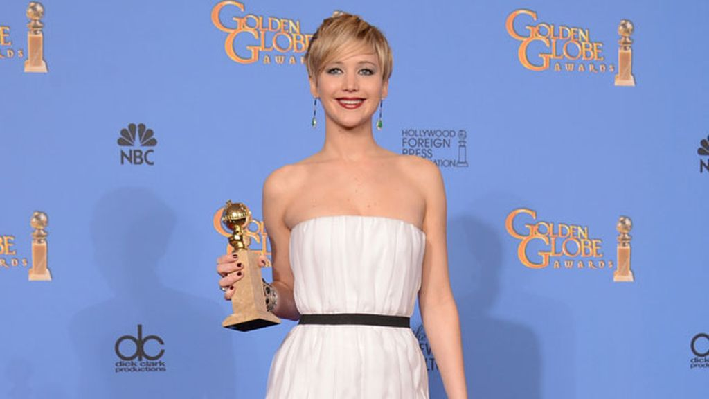 Jennifer Lawrence con su globo de oro
