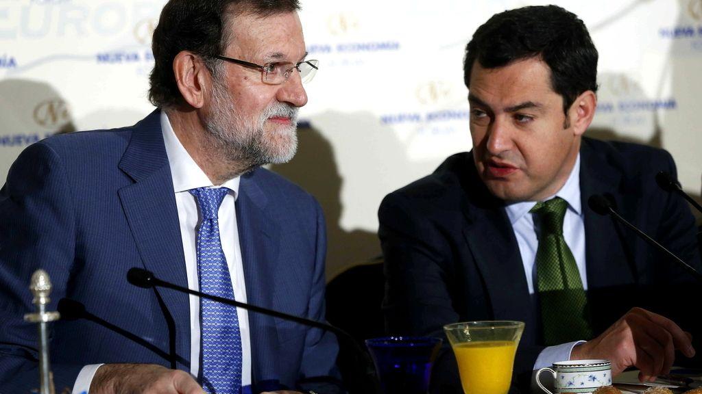 El presidente del Gobierno, Mariano Rajoy, y el presidente del PP andaluz, Juan Manuel Moreno