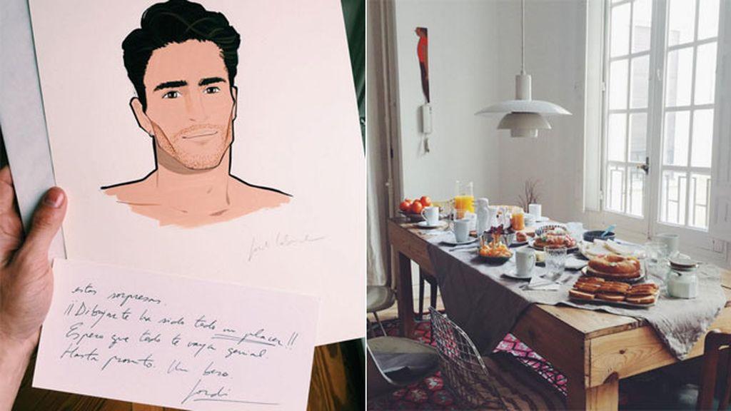 También han traído un retrato para Pelayo Díaz, que lo ha celebrado con un 'brunch'