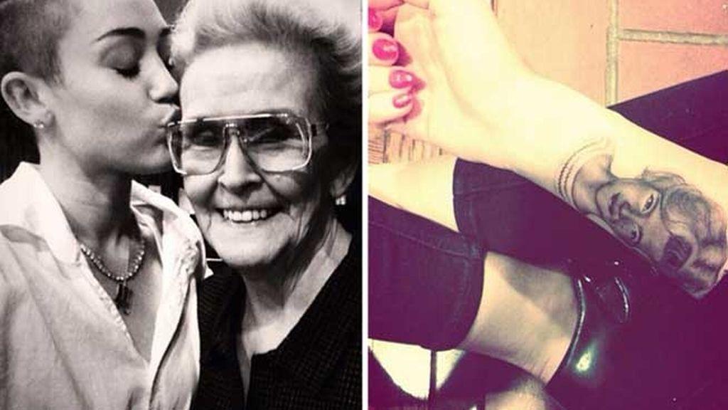 Miley Cyrus celebra el cumpleaños de su abuela tantuándose su foto