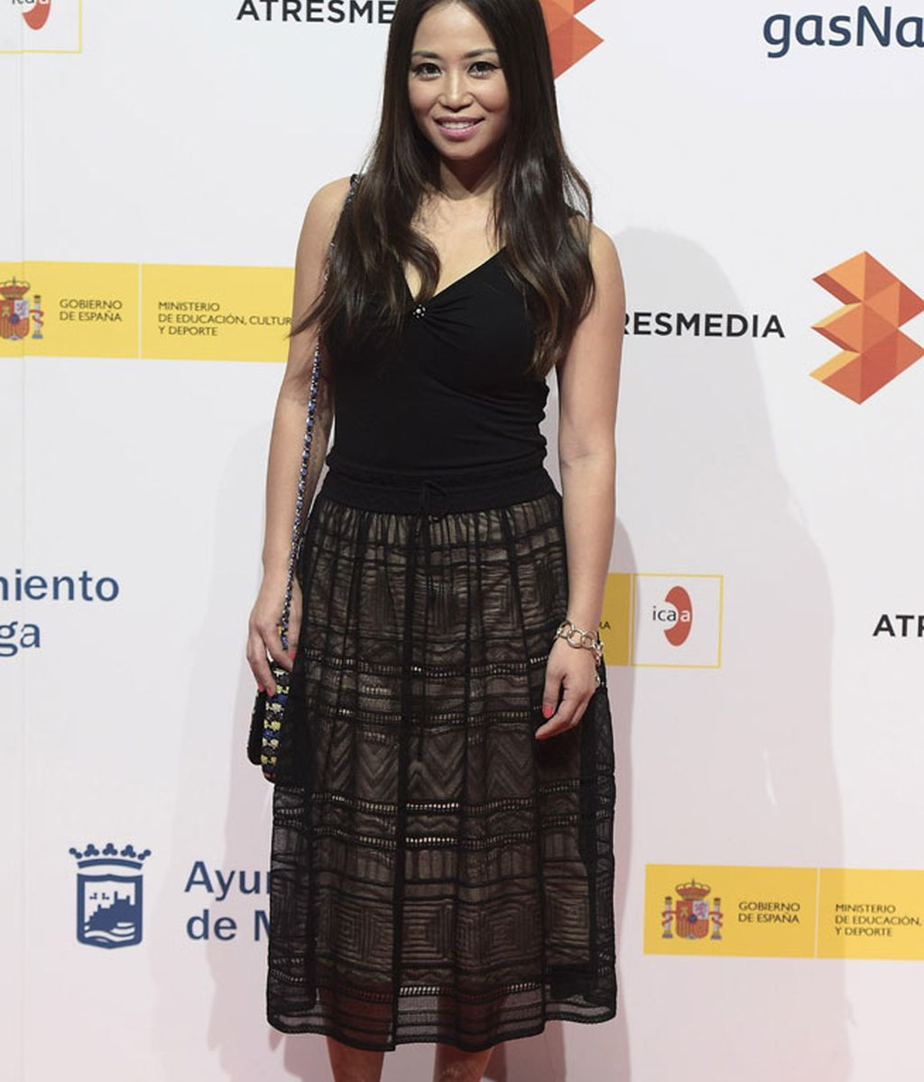 La presentadora Usun Yun, durante el coktel de presentación del Festival de Málaga