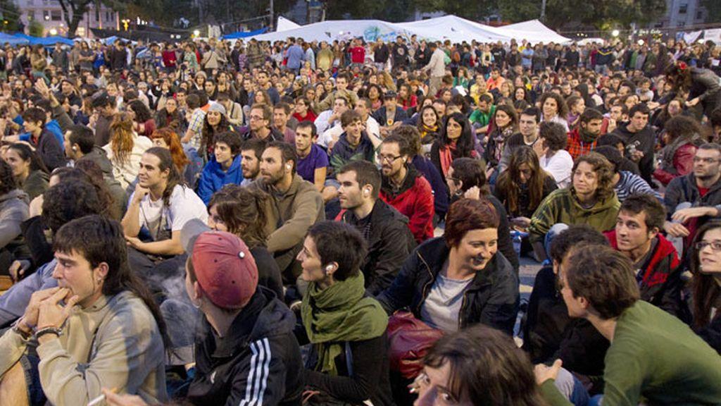 Indignados en la plaza de Cataluña.