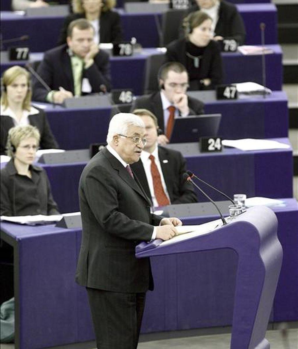 El presidente palestino, Mahmud Abás, ante el pleno del Parlamento Europeo. EFE