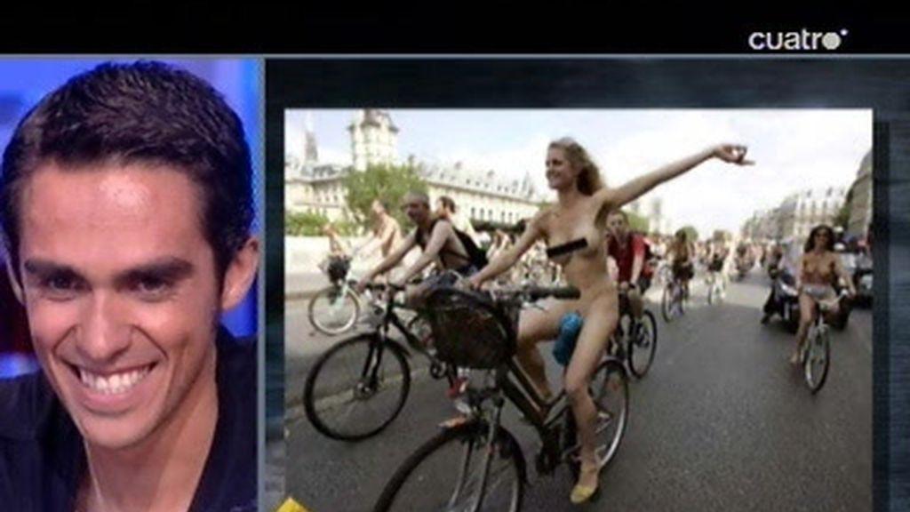Trancas y Barrancas explican a Alberto Contador las normas del ciclista nudista