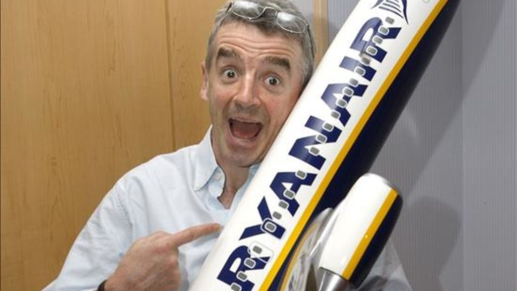 El presidente de de la aerolínea de bajo coste irlandesa Ryanair, Michael O'Leary, ofreció hoy en Madrid una rueda de prensa sobre aeropuertos españoles y otros datos. EFE