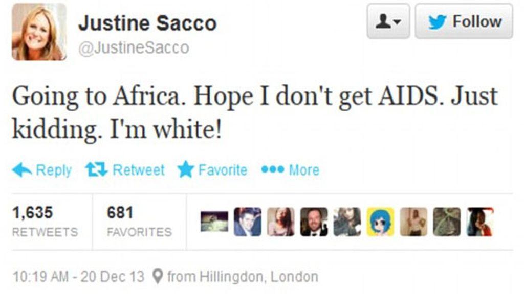 El tuit racista de una ejecutiva genera una tormenta de protestas en África