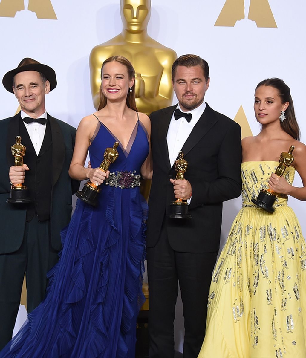 Mark Rylance, Brie Larson, Leonardio DiCaprio y Alicia Vikander