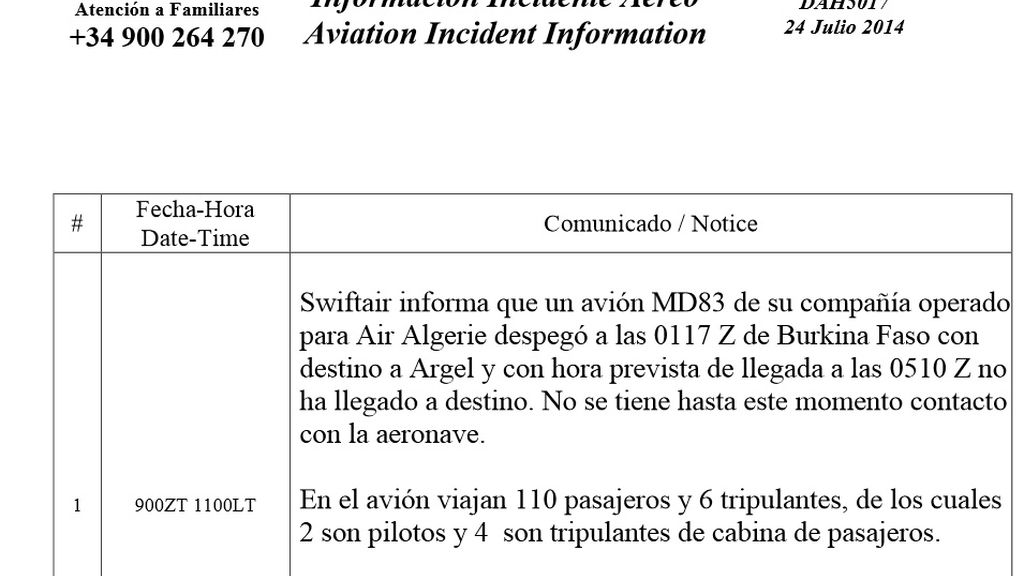 Comunicado de Swiftair