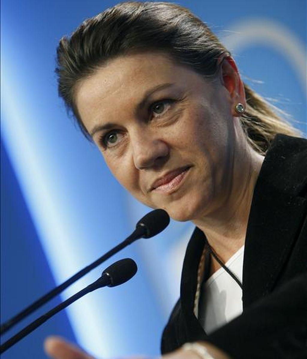 La secretaria general del PP, María Dolores de Cospedal, durante la rueda de prensa posterior a la reunión del Comité Ejecutivo Nacional del partido, hoy en Madrid. EFE