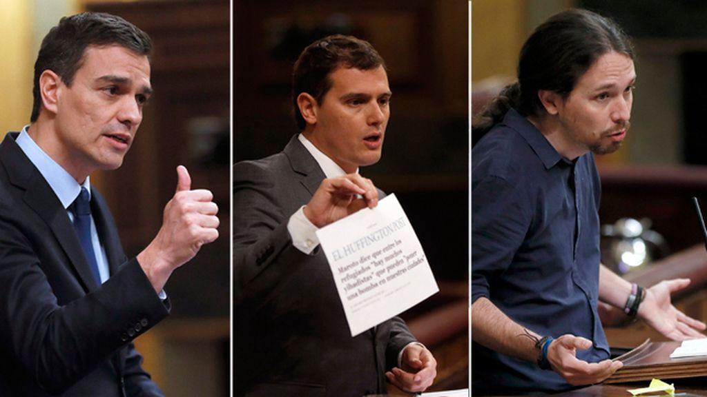 Pedro Sánchez, Albertr Rivera y Pablo Iglesia intervienen en el Congreso de los Diputados